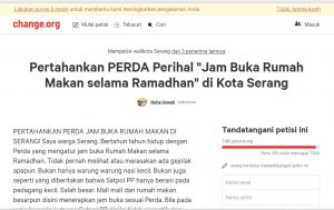 Beredar Petisi Tolak Wacana Pencabutan Perda Jam Buka Rumah Makan di Serang