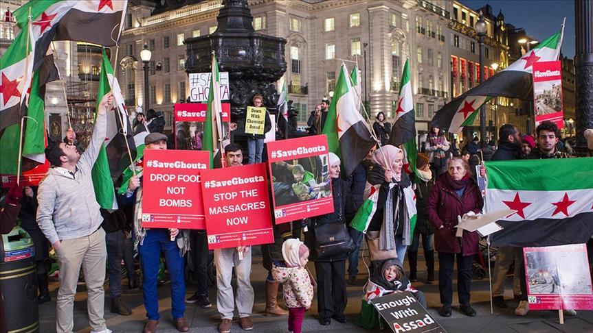 Peduli Ghouta Timur, Warga London Gelar Aksi Unjuk Rasa Desak Inggris Lawan Rezim Assad