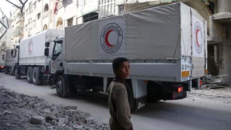 13 Truk Bantuan Kemanusian untuk Ghouta Luput dari Serangan Udara Rezim Syiah Assad
