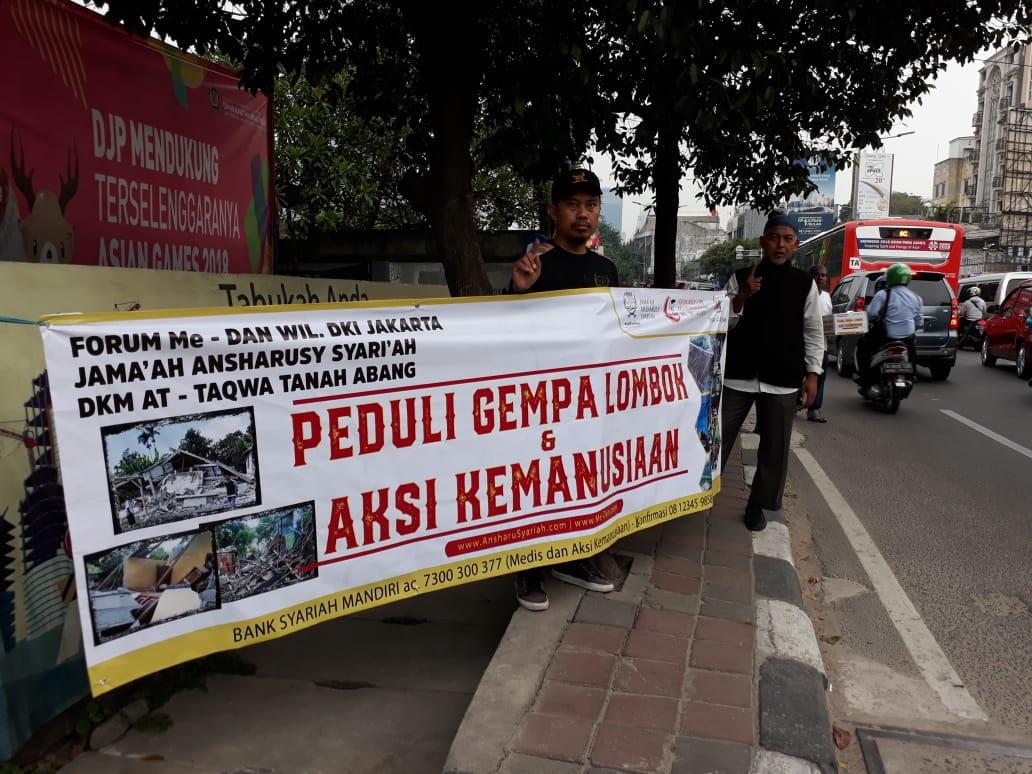 Forum Me-Dan, Ansharuyariah dan DKM At-Taqwa Bantu Korban Gempa Lombok