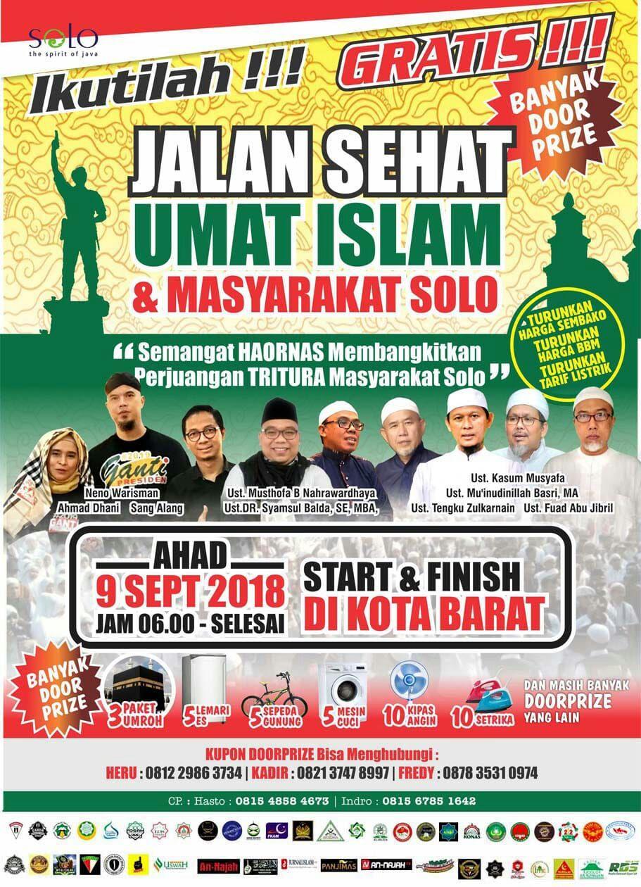 Berbarengan Dengan Porwaso, Panitia Jalan Sehat Umat Islam Tegaskan Acara Tetap di Kottabarat
