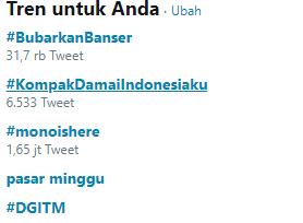 Tagar #BubarkanBanser Jadi Trending Topik