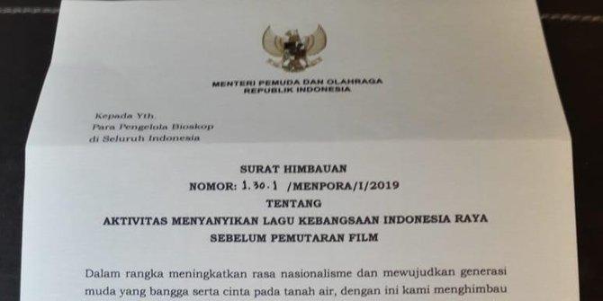 Baru Dirilis, Imbauan Nyanyikan 'Indonesia Raya' di Bioskop Langsung Dicabut