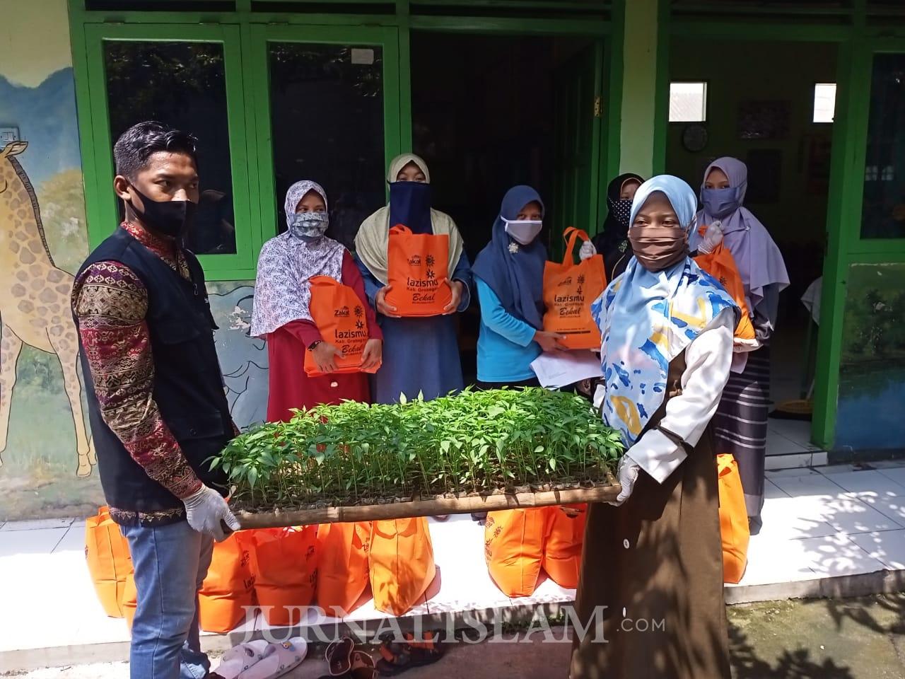 Lazismu Grobogan Salurkan Paket Sembako dan Bibit Sayuran