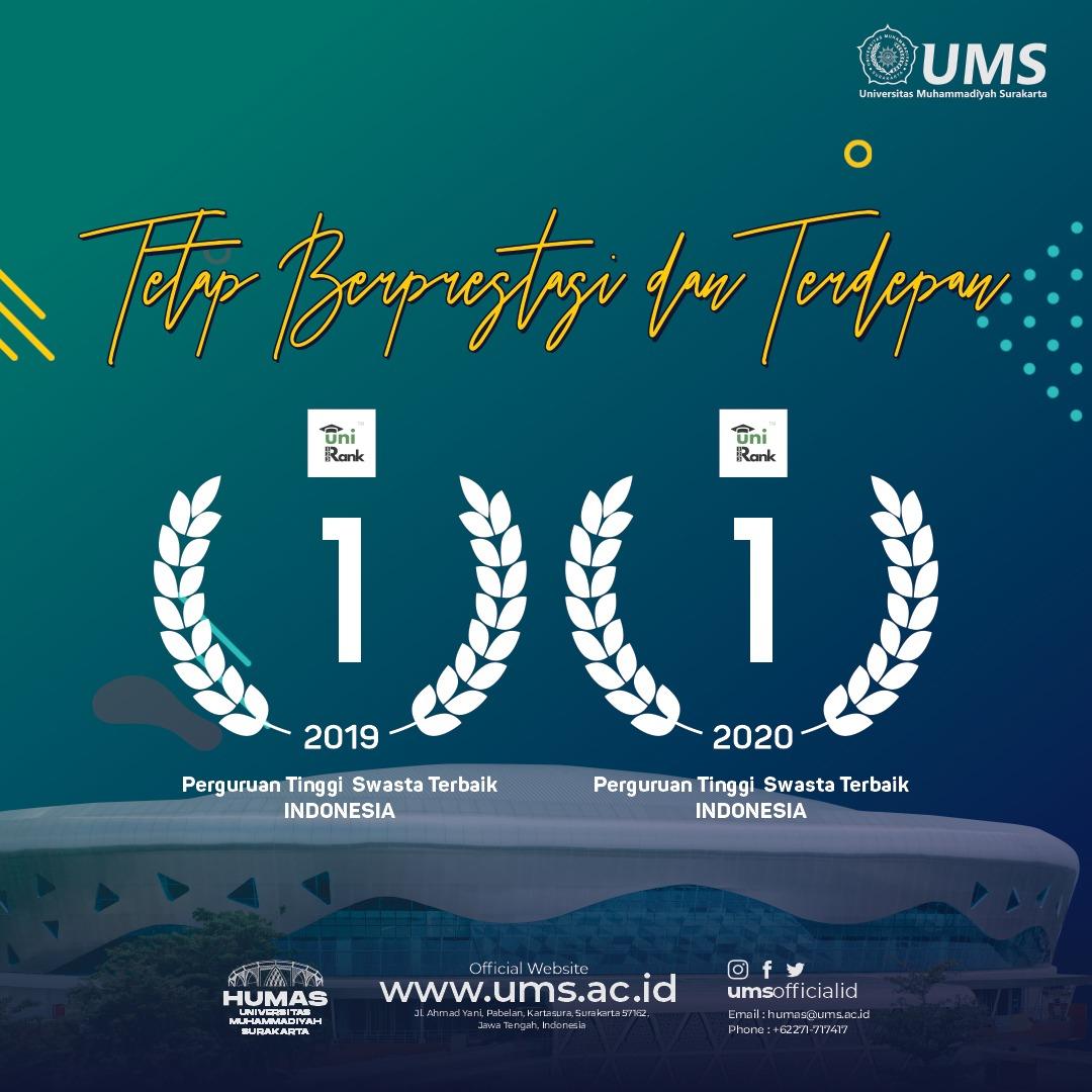 Universitas Muhammadiyah Surakarta Jadi PTS Terbaik di Indonesia